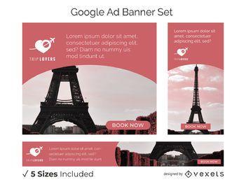 Conjunto de banner para amantes de viagens