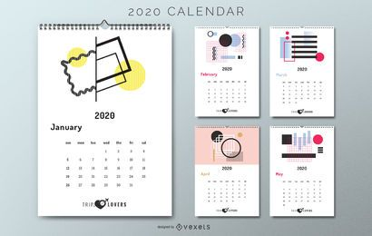 Abstract 2020 calendar trip lovers