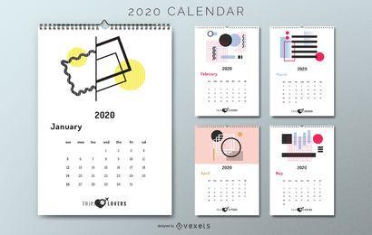 Resumo 2020 amantes de viagens de calendário