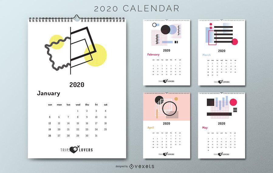 Amantes de viagens do calendário abstrato 2020