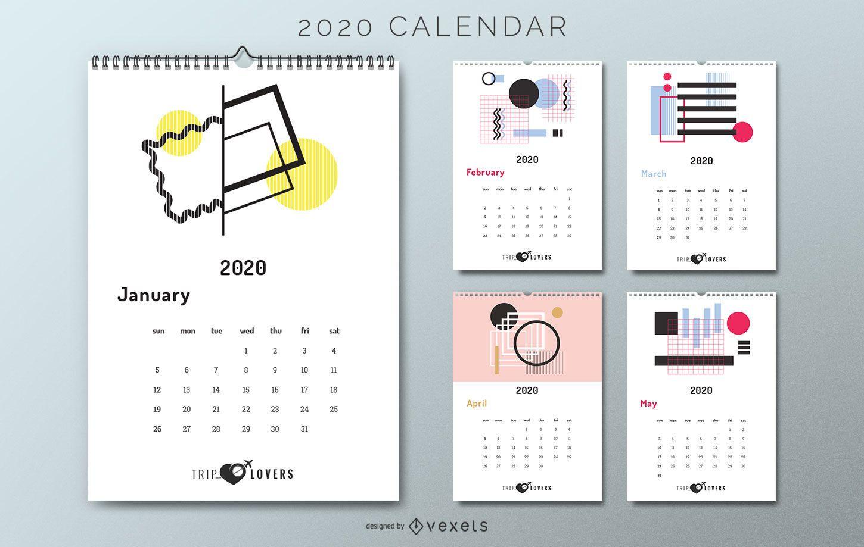 Amantes del viaje del calendario abstracto 2020