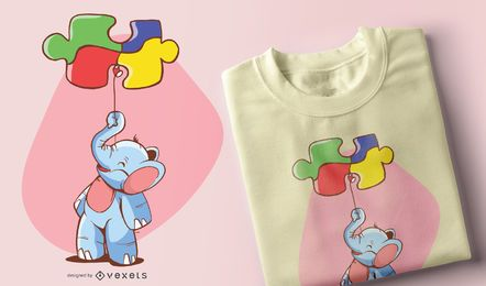 Elefant Ballon Puzzle Kinder T-Shirt Design