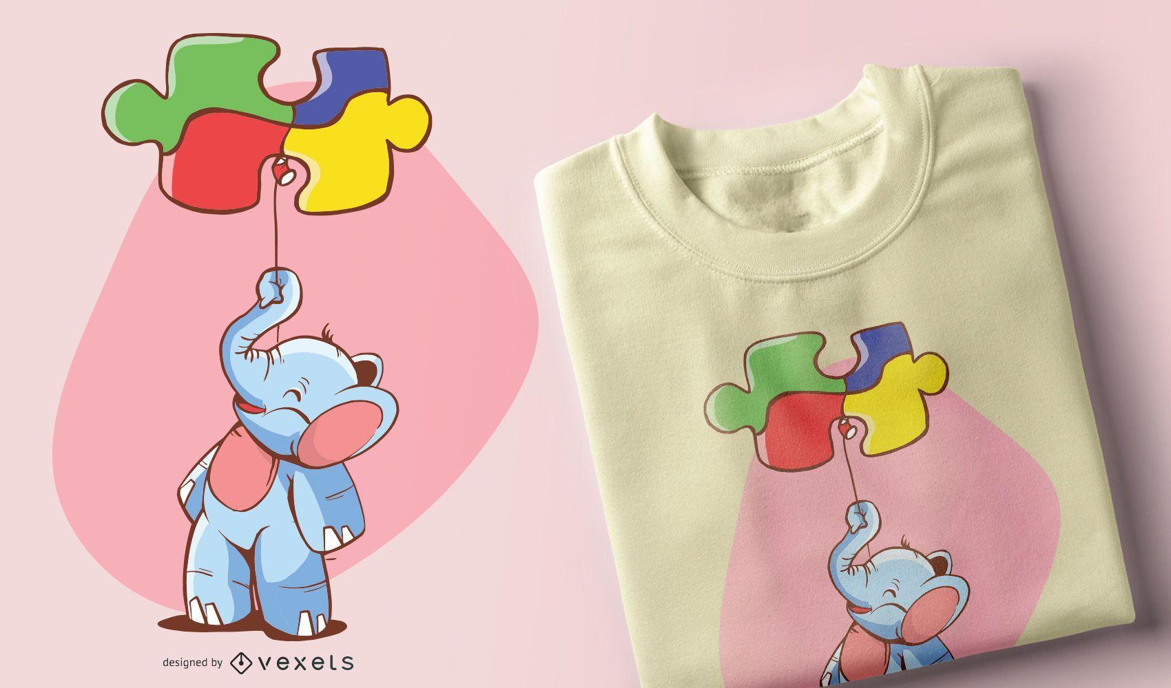 Elephant Balloon Puzzle Kids T-shirt Design