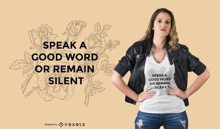 Fale o design de t-shirt de citação
