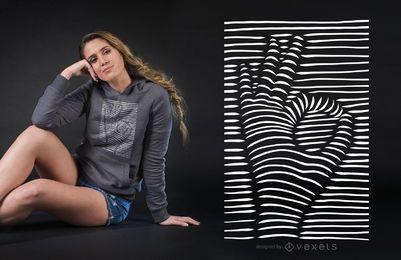 Efeito 3D OK mão sinal t-shirt Design
