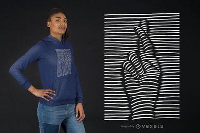 Efeito 3D cruzou o design de t-shirt de dedos