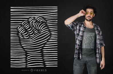 Diseño de camiseta con puño en relieve de efecto 3D