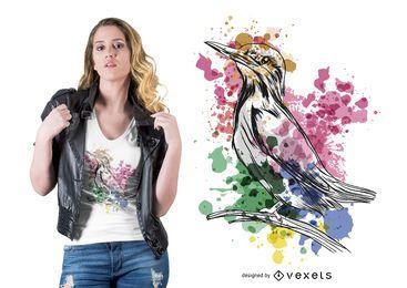 Aquarell-Eisvogel-T-Shirt Entwurf