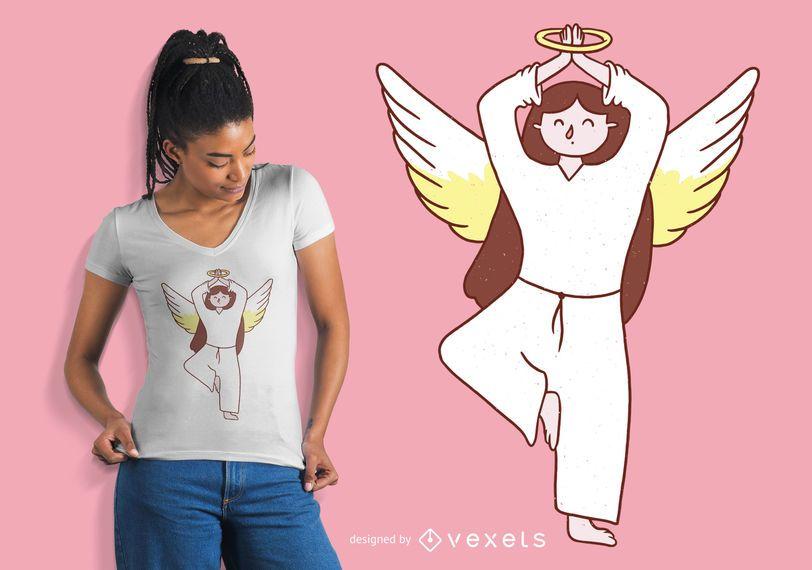 Diseño de camiseta Angel Yoga