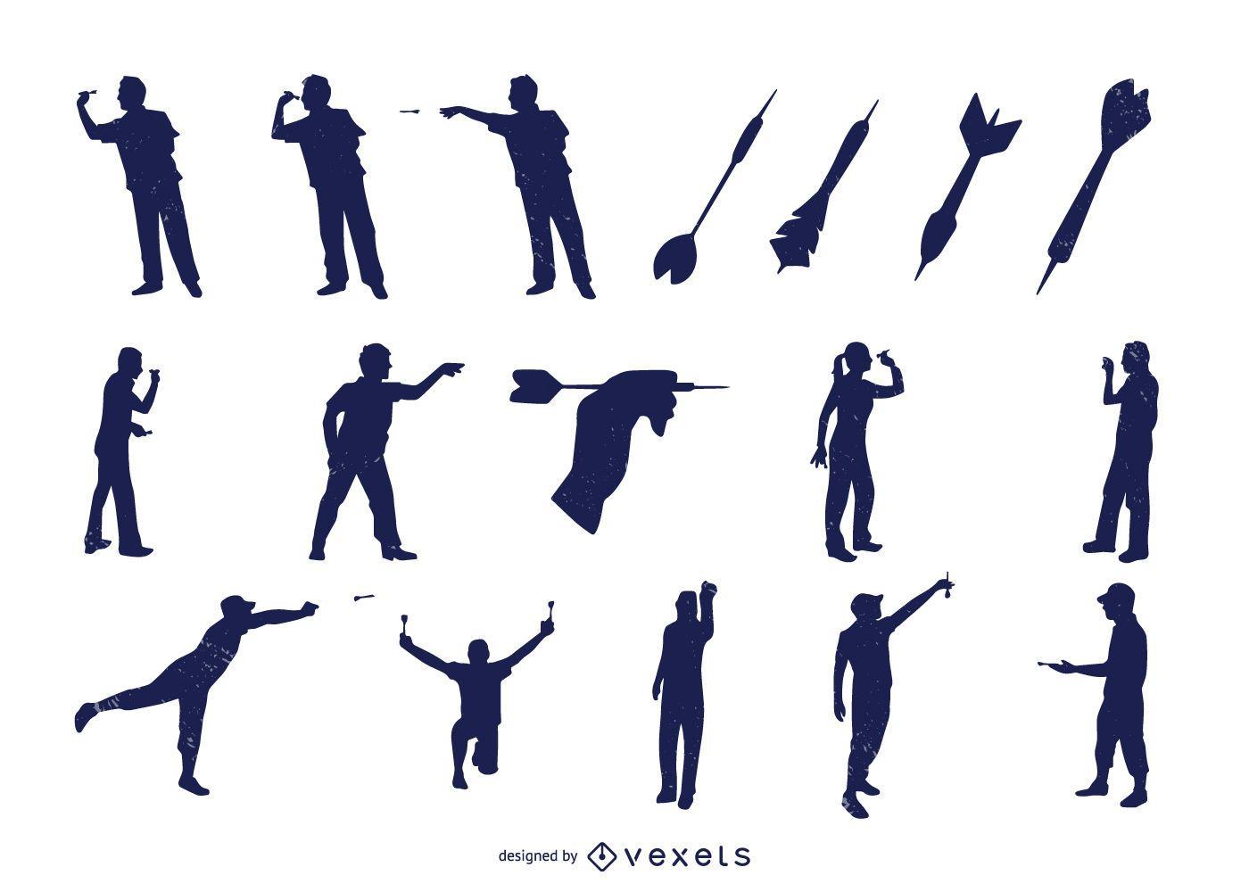 Conjunto de silueta de elementos de hobby de dardo