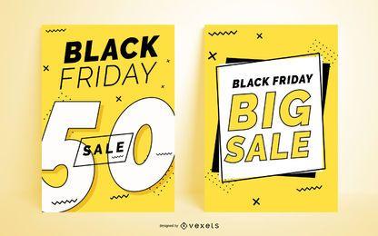 Conjunto de carteles de viernes negro