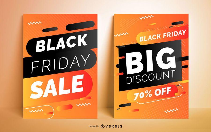 Conjunto de carteles de venta de viernes negro