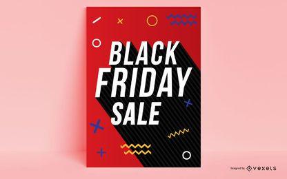 Diseño de cartel de memphis el viernes negro