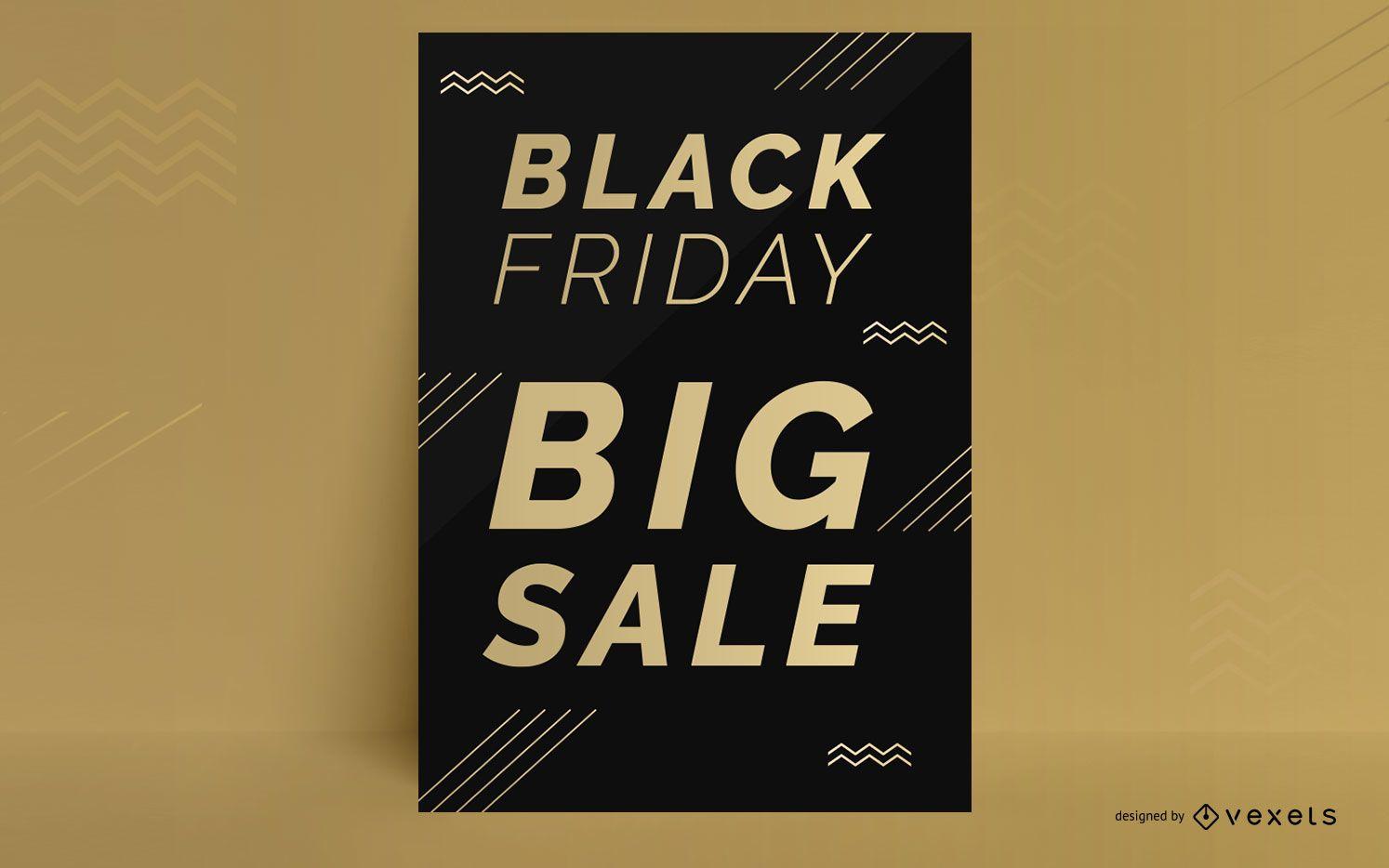 Diseño de cartel de descuento de viernes negro