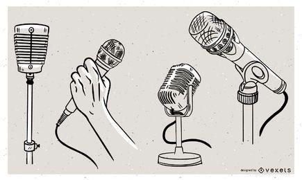 Conjunto de doodle de micrófonos