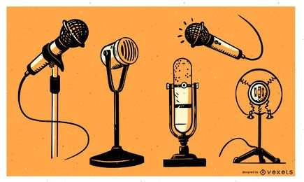 Pack de doodle de micrófonos