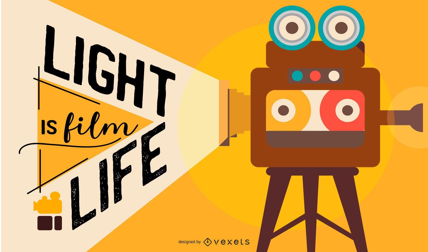 Filmmaking Camera Flat Design Illustration