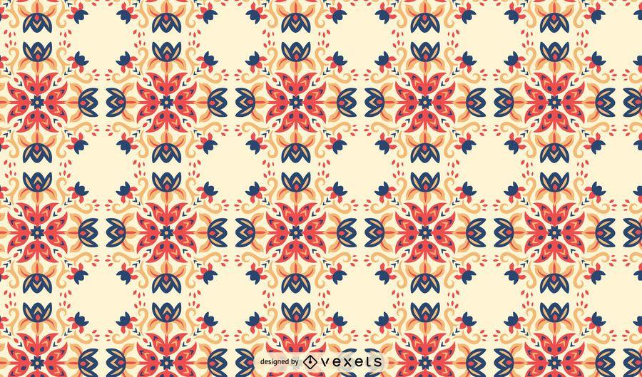 Flowers swirls scandinavian pattern
