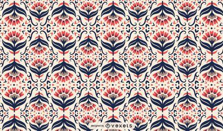 Patrón floral de arte popular escandinavo
