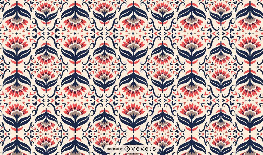 Scandinavian folk art floral pattern
