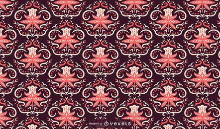 Flores escandinavas rosa padrão