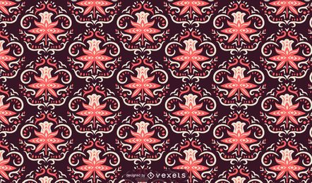 Patrón escandinavo flores rosa