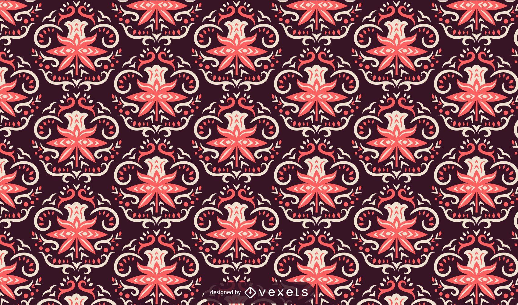 Scandinavian flowers pink pattern