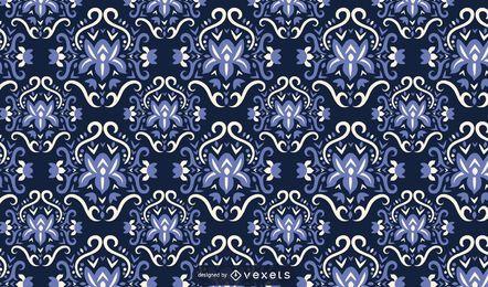 Flores escandinavas azul padrão