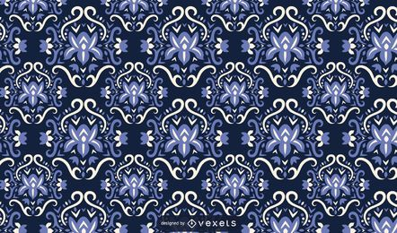 Scandinavian flowers blue pattern