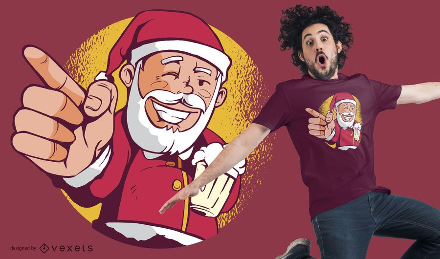 Santa beer t-shirt design