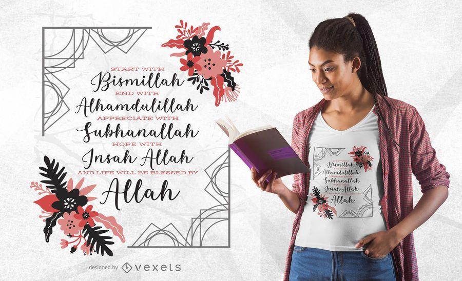 Projeto do t-shirt das citações do Islã de Bismillah