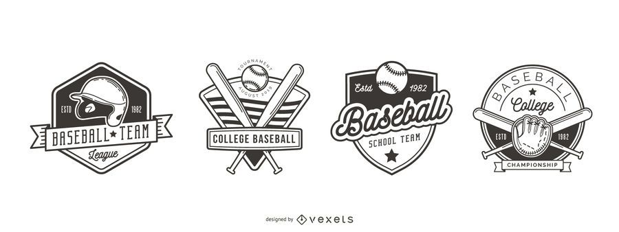 Baseball Badge Logo Set