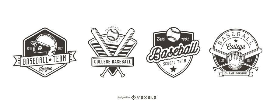Conjunto de logotipo de distintivo de beisebol