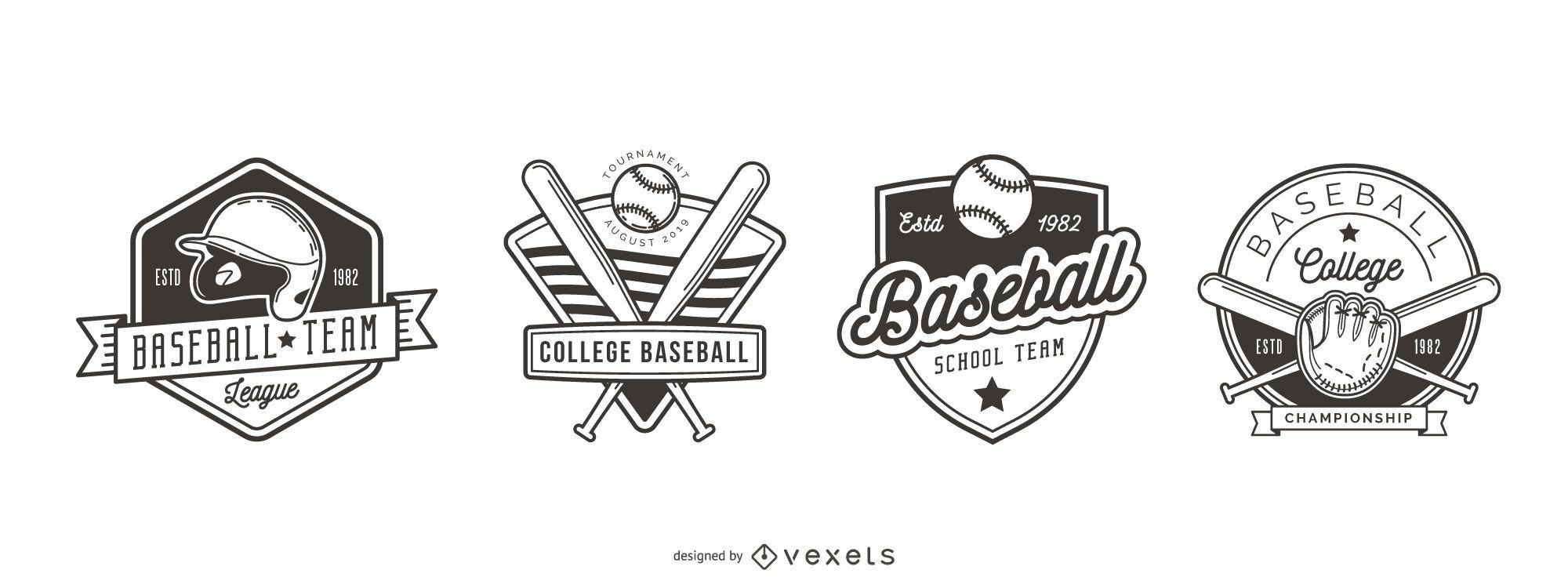 Conjunto de logotipo de insignia de b?isbol