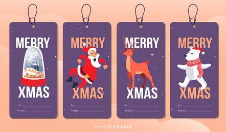 Conjunto de etiquetas editables de Navidad