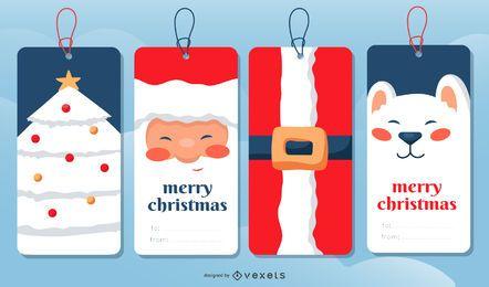 Conjunto de etiquetas de presente de Natal