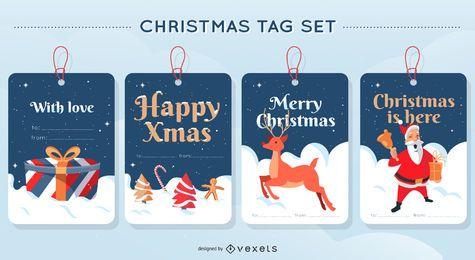 Conjunto de diseño de etiqueta de feliz Navidad
