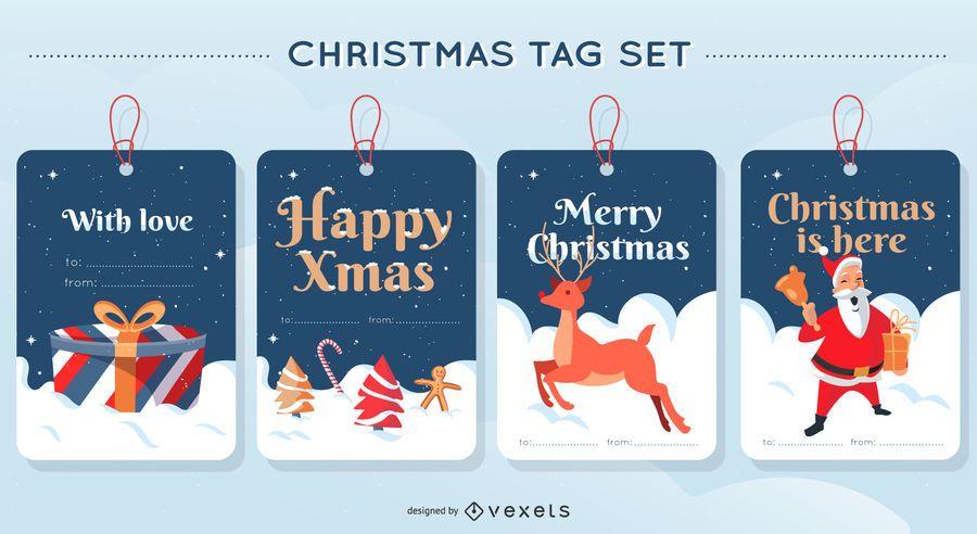 Frohe Weihnachten Tag Design Set