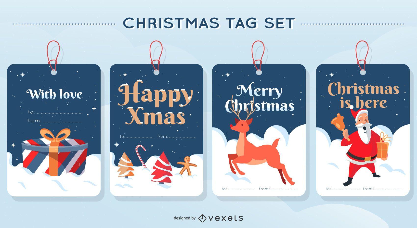 Merry Christmas Tag Design Set