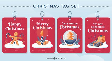 Christmas Tag Vector Design Set