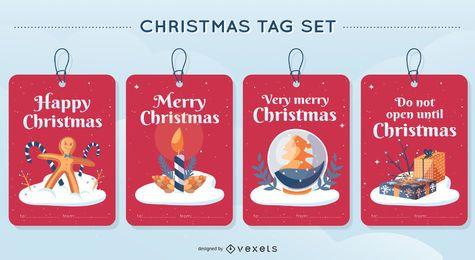 Conjunto de diseño de vectores de etiqueta de Navidad
