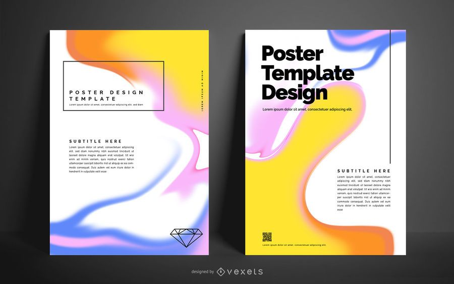 Diseño de cartel abstracto líquido