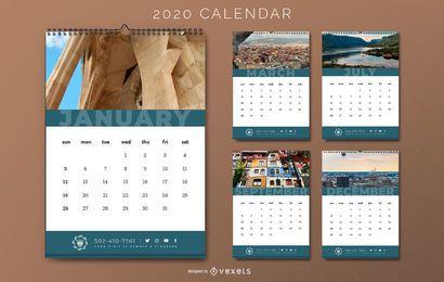 Projeto do calendário de hotéis de viagens 2020
