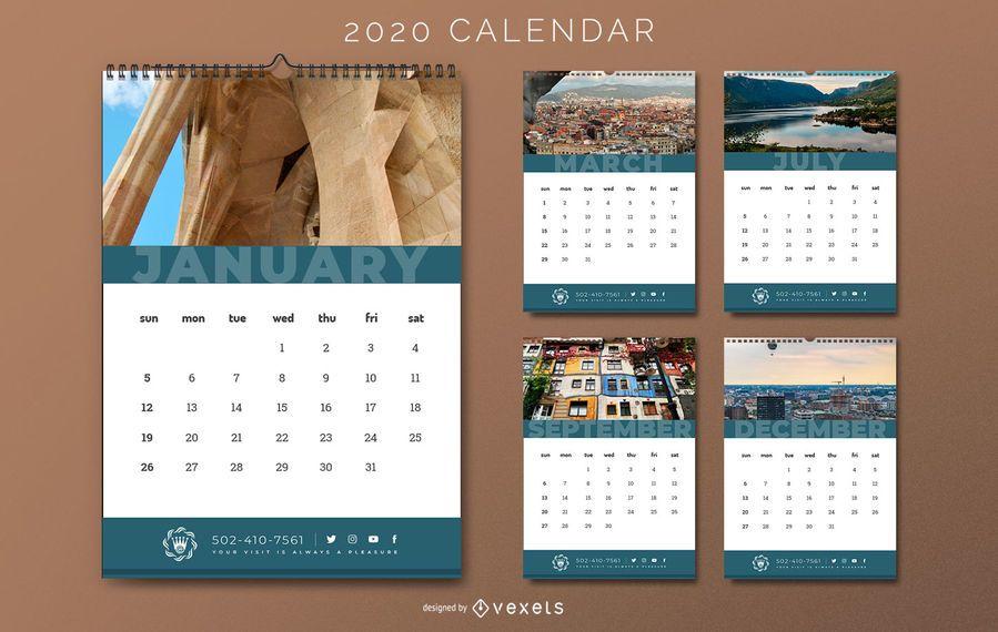 2020 Travel Hotel Calendar Design