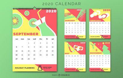 Projeto colorido do calendário de férias