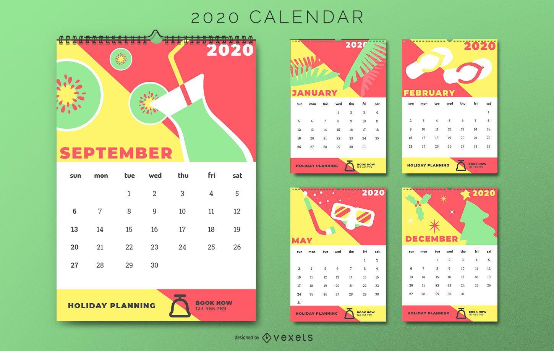 Colorful Holiday Calendar Design