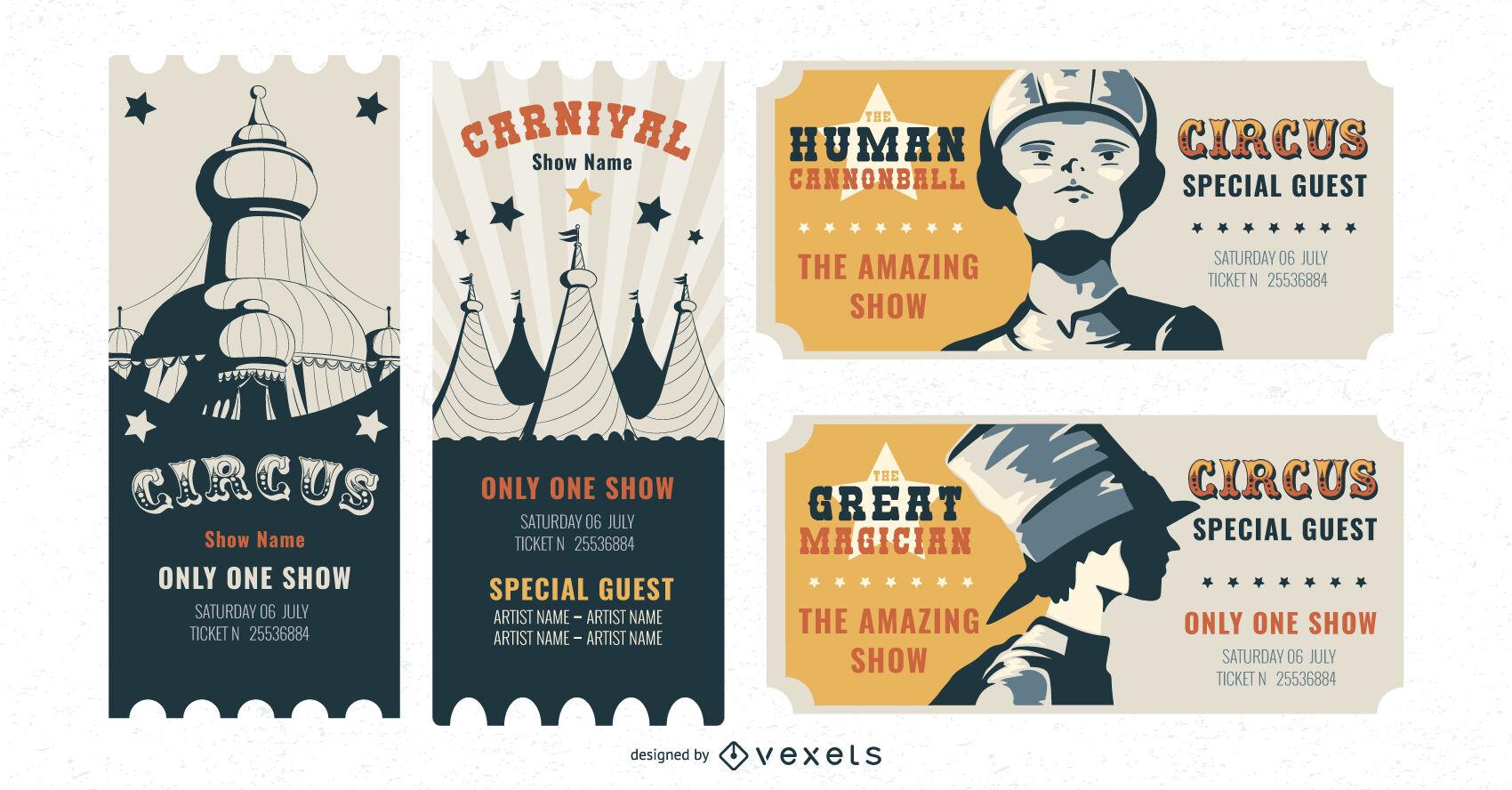 Paquete de diseño de entradas de circo
