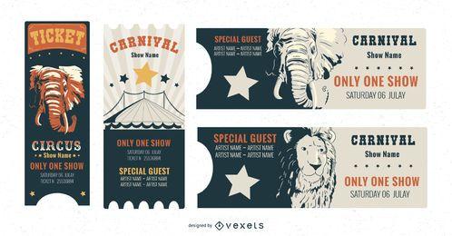 Conjunto de plantillas de entradas de circo