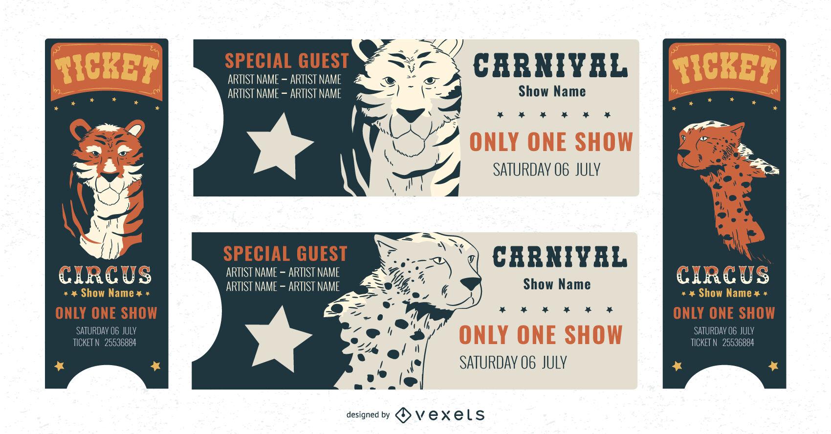 Pacote de modelos de ingressos para carnaval