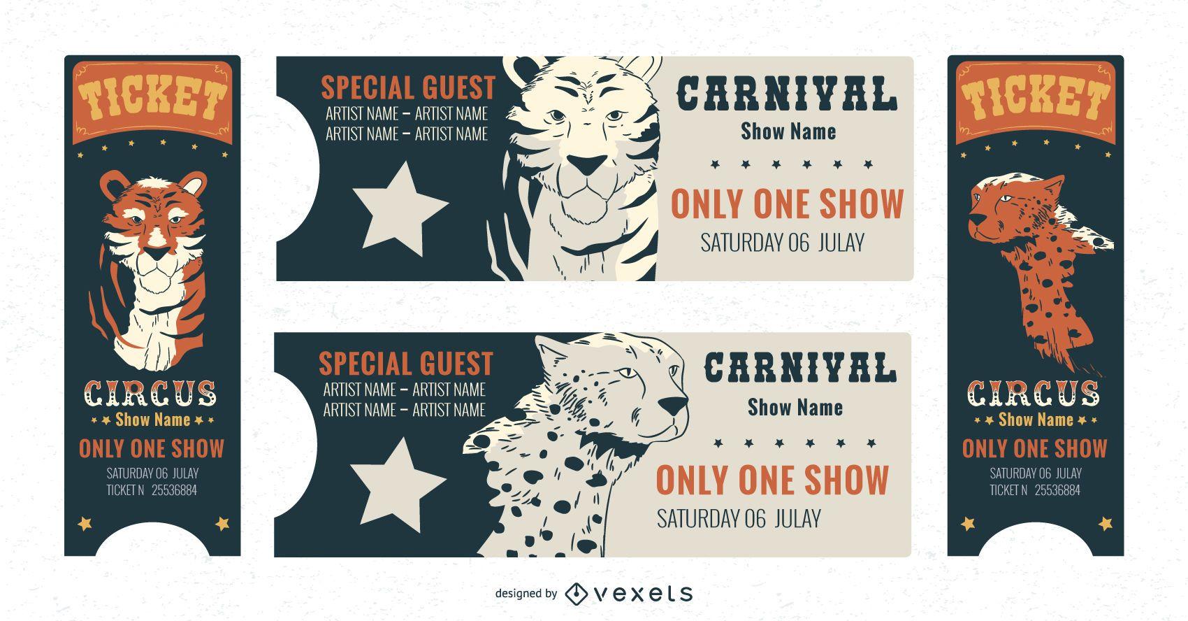 Paquete de plantillas de entradas de carnaval